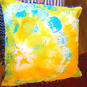 Hand dyed and printed silk noil decorative pillow